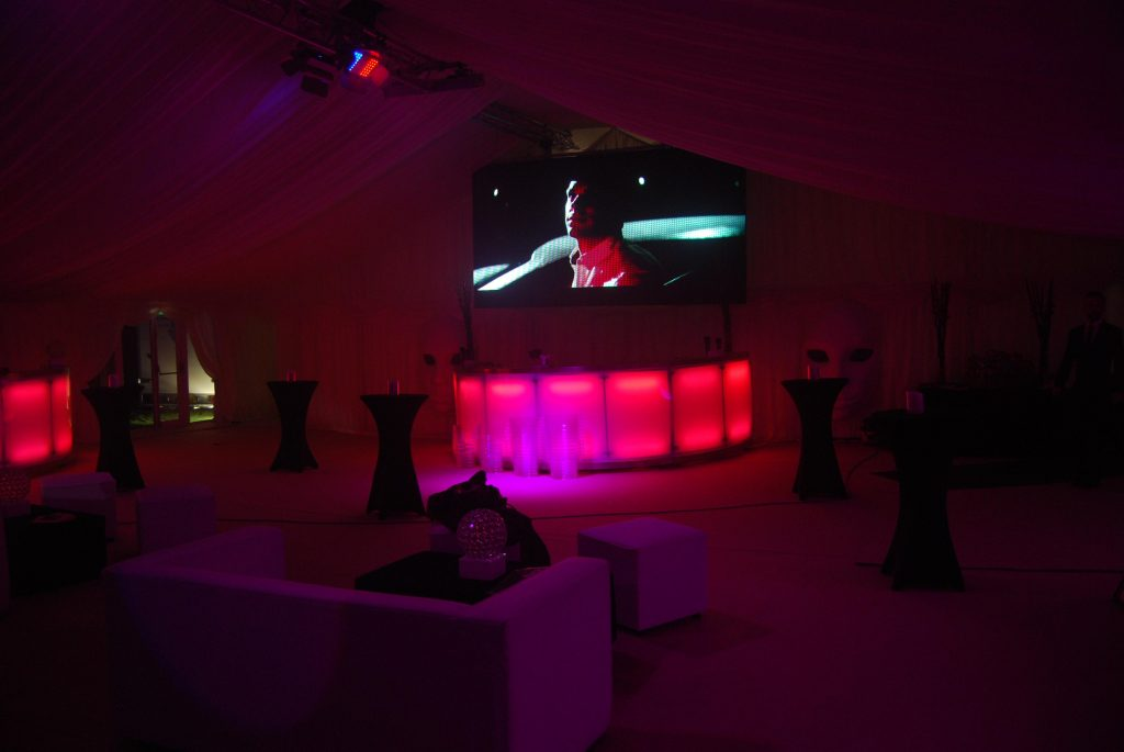Our of our screens used to provide a backdrop in a highly stylised bar.