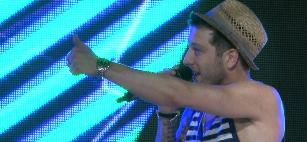 Matt Cardle in front one one our screens.